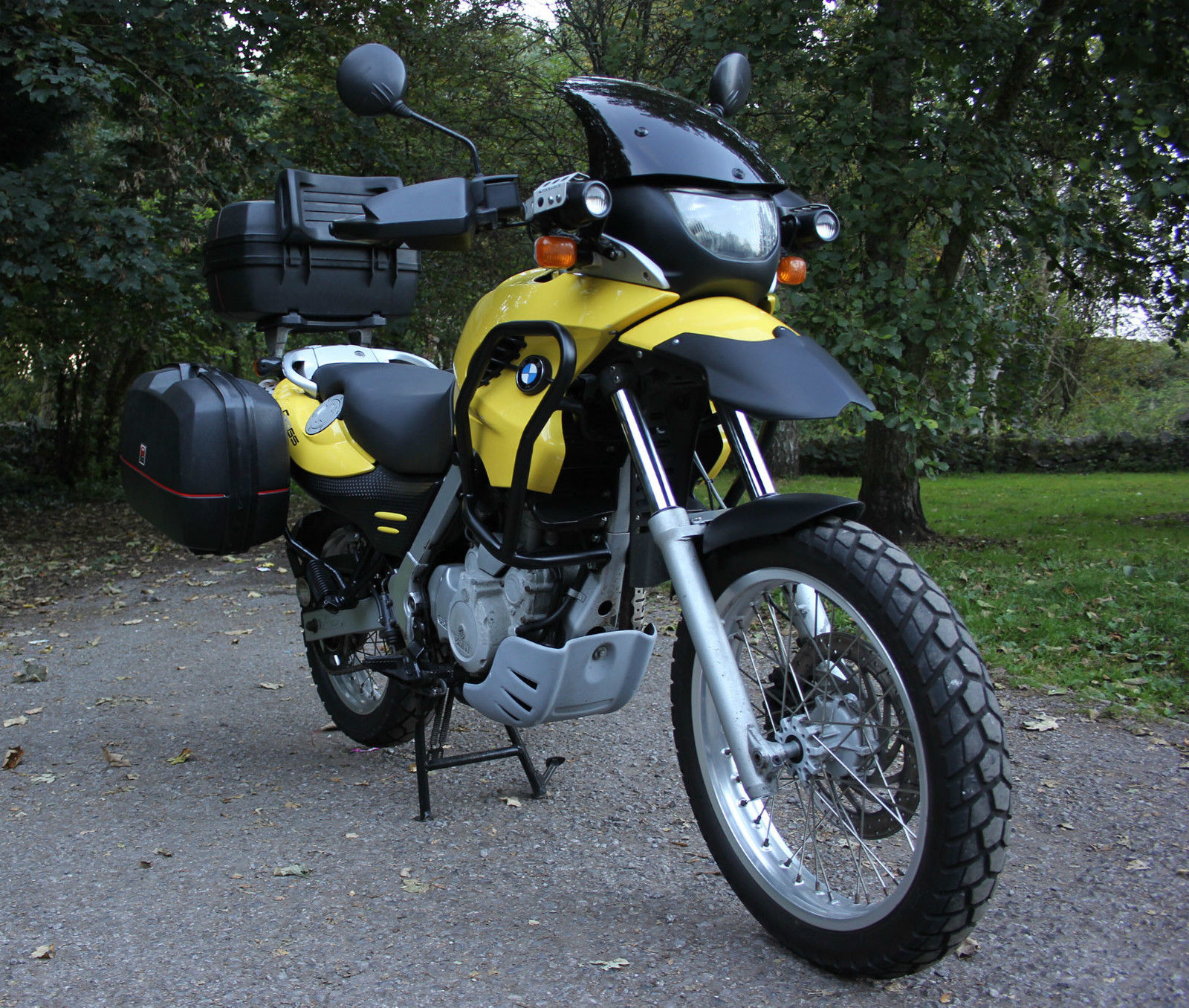 03 bmw f650gs yellow full givi luggage touratech fogs. Black Bedroom Furniture Sets. Home Design Ideas