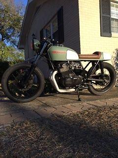 1975 Honda Cb750four Custom Cafe Racer In Matte Green And Black Brat