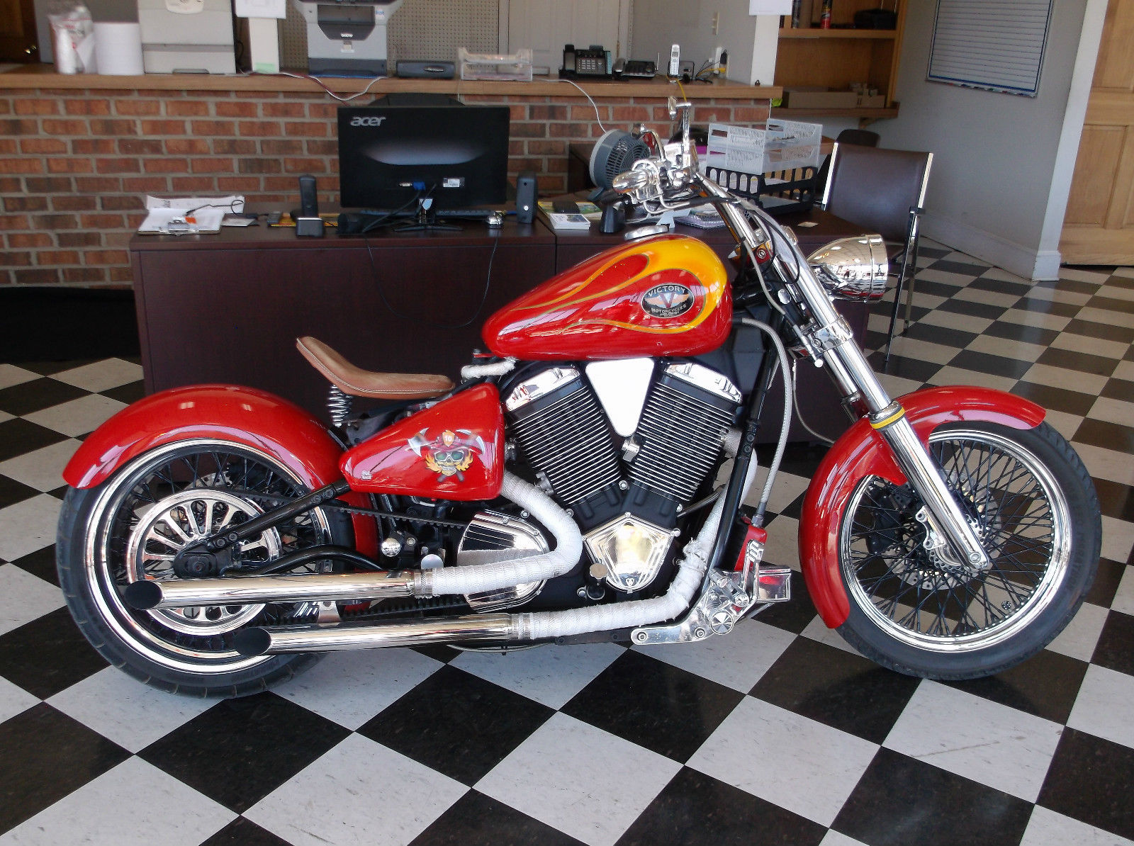 Exhaust Heat Wrap >> 2000 VICTORY V92, CUSTOM BOBBER, WIDE TIRE KIT, CUSTOM FLAMES, $13000 INVESTED!!