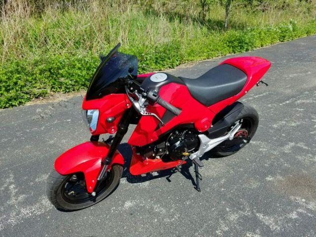 2014 custom red honda grom sport 125cc msx fast low miles for Honda grom mpg