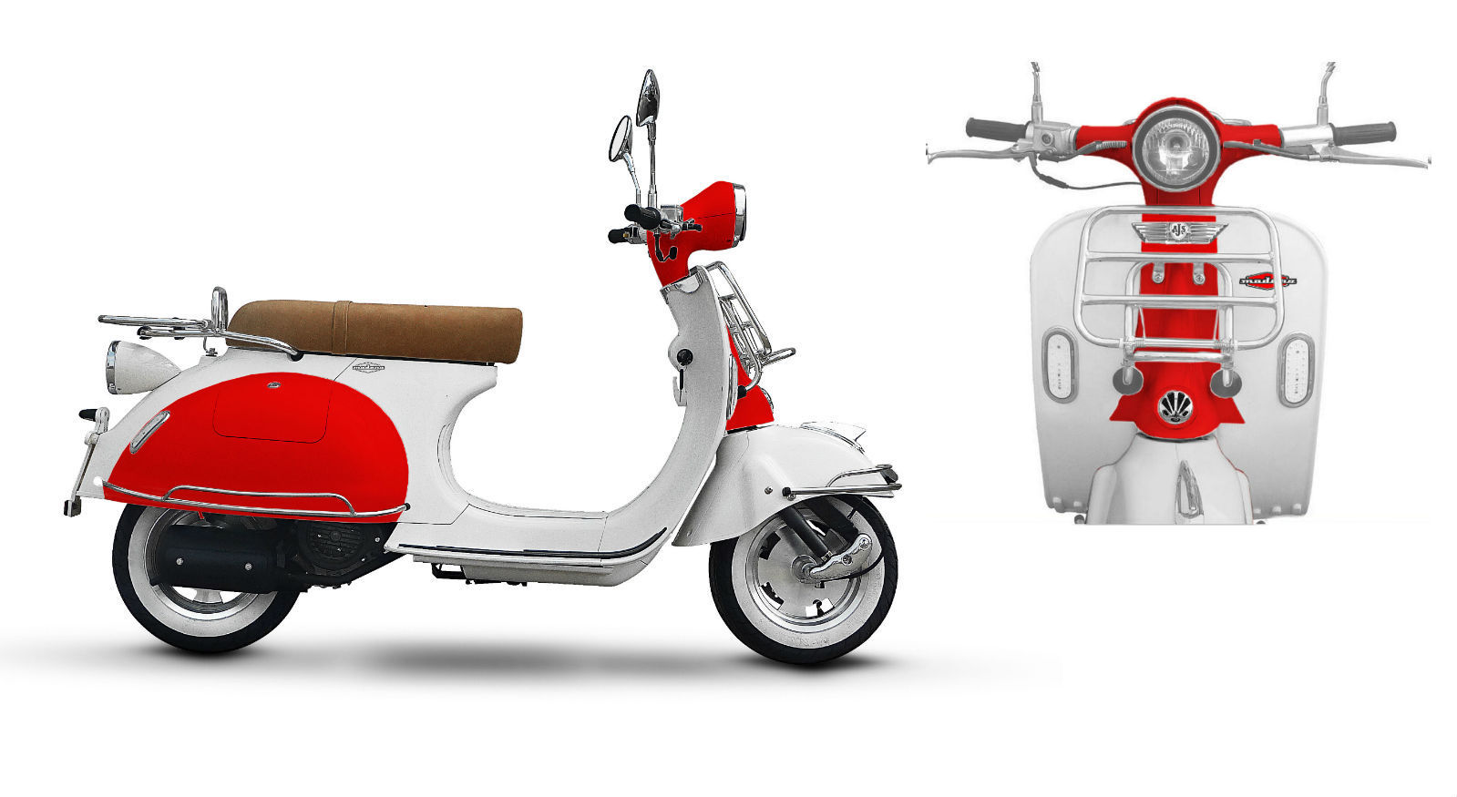 ajs modena 125 white or black retro looking scooter. Black Bedroom Furniture Sets. Home Design Ideas