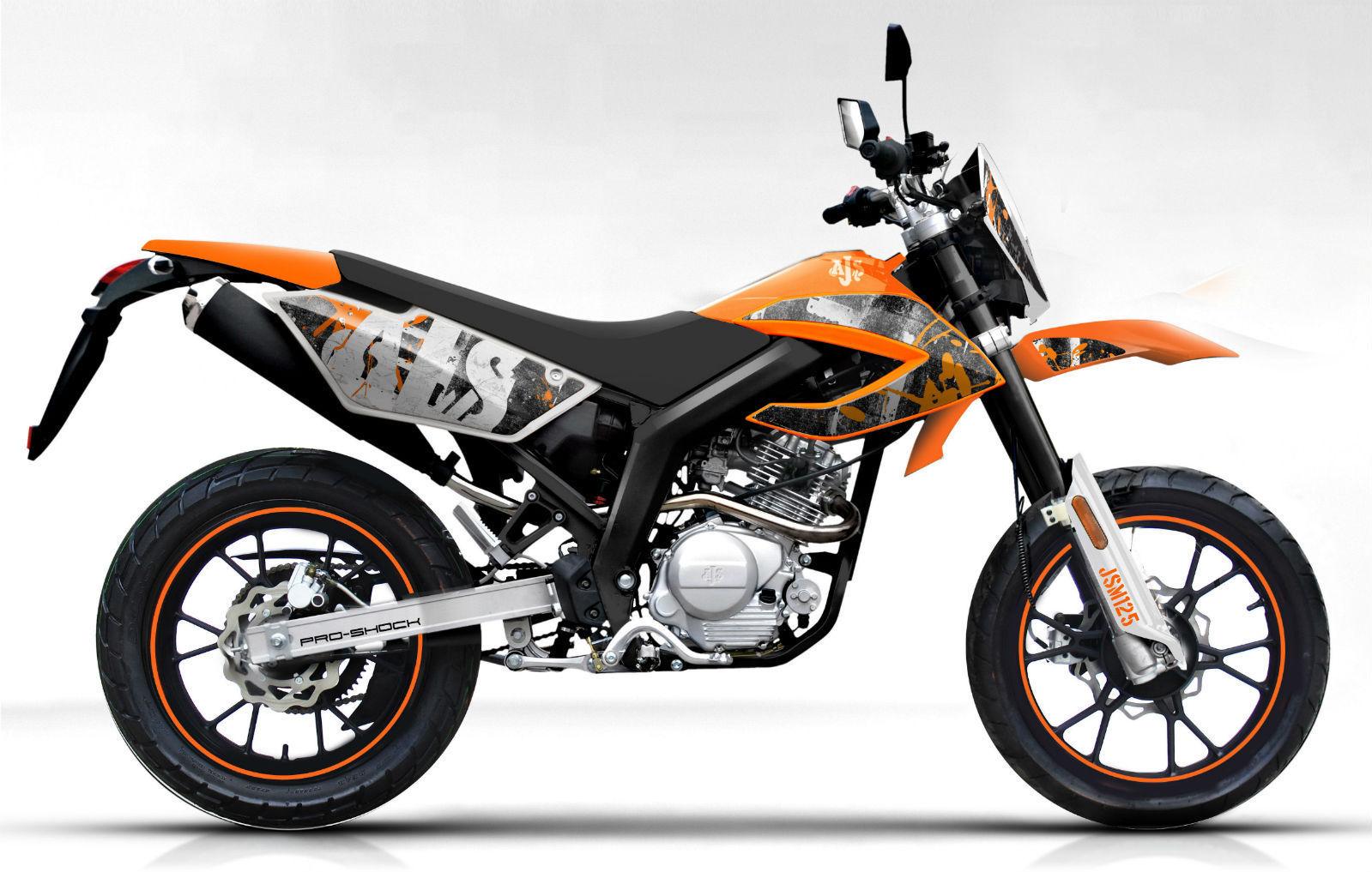 brand new ajs jsm 50 super moto 50cc motorcycle moped. Black Bedroom Furniture Sets. Home Design Ideas
