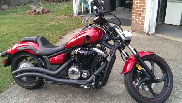 Candy Red 2013 Yamaha Stryker with custom cobra Swept Pipes Mint Condition