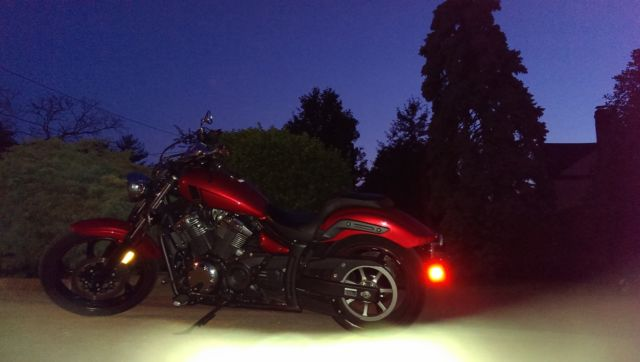 Candy Red 2013 Yamaha Stryker with custom cobra Swept Pipes Mint