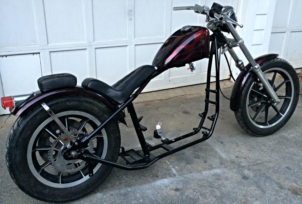 Harley Davidson Sportster Hardtail Roller, Custom Painted Paughco Chopper,  w/MSO