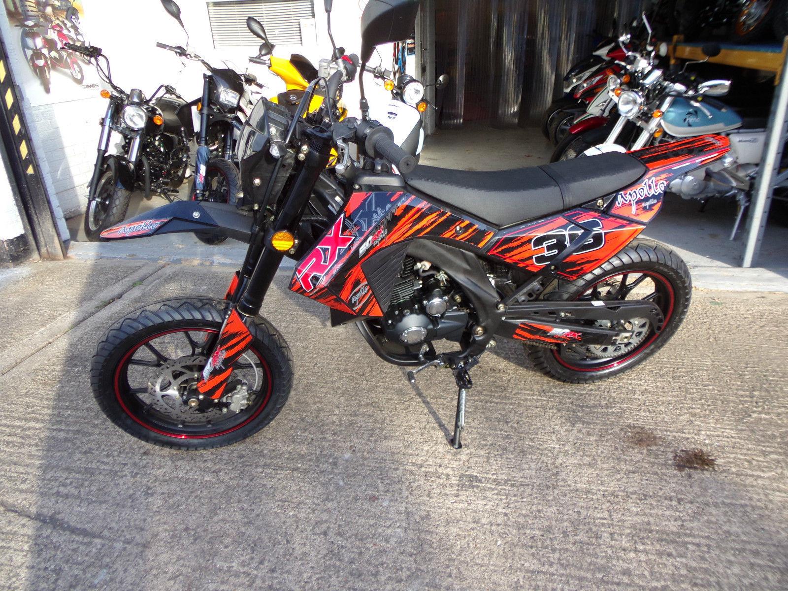 new apollo rx50 supermoto enduro 50cc moped motorbike. Black Bedroom Furniture Sets. Home Design Ideas