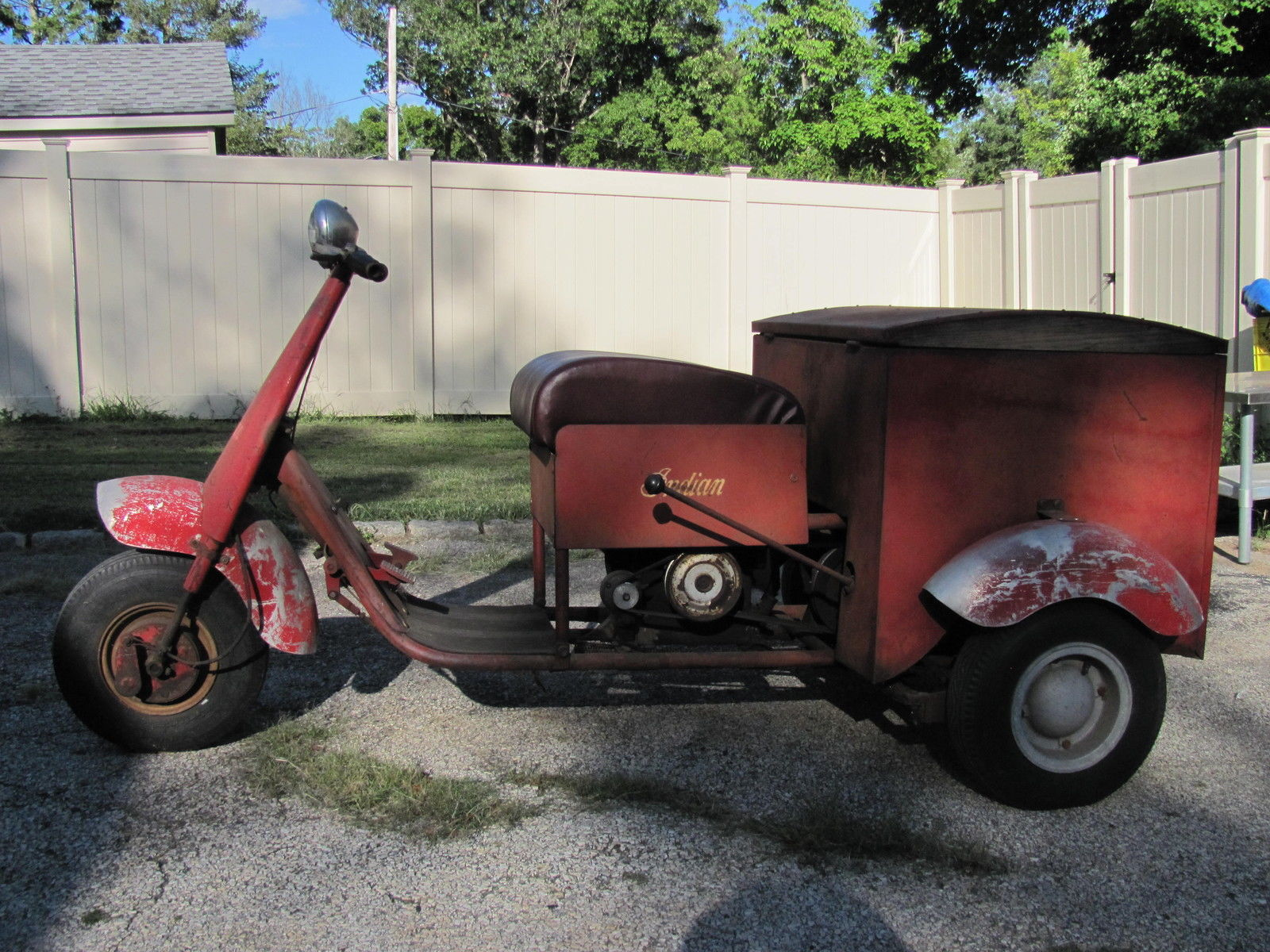 Vintage Antique 1949 Indian Three Wheeler With A Crosely